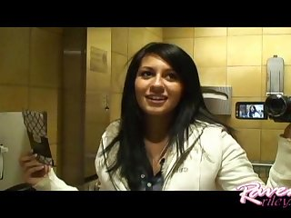 Raven riley shows her pu y in restroom