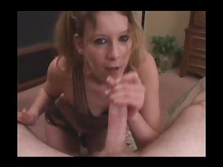 Amateur in boots pigtails smokes blows and swallows cum