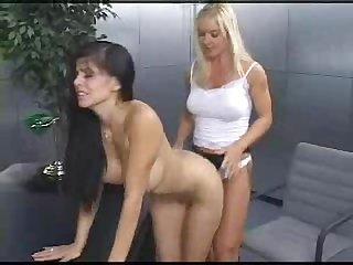Office lesbian butt fucked
