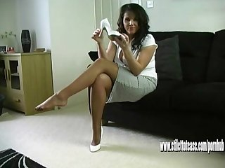 Horny leggy milf talks dirty to you about cumming in her sexy stiletto heel