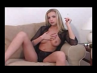 Petite model quality blonde smokes and teases nude