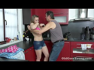 Teen gets fucked in the kitchen by dad s friend