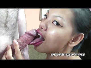 Asian college girl olivia is swallowing a stiff cock