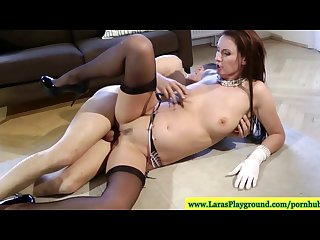 English milf in stockings goes on a ride