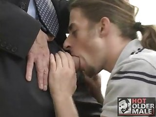 Longhaired boy takes on huge hung daddy