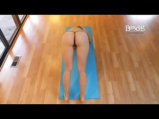 Doing my yoga wearing an almost nude micro bikini