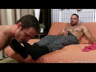 Julian knowles has his feet worshipped by cameron kincade