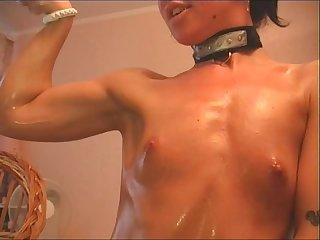 Webcam muscle girl flexing 13