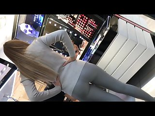 Grey shiny Leggings girl