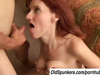 Debra is a skinny mature redhead who loves the taste of cum