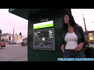 Publicagent hot brunete with massive its flashing in public