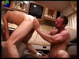 Hung daddy fucks twink in rv