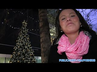Publicagent vanessa earns extra Xmas cash by fucking my big dick
