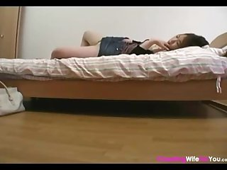 Japanese wife doing morning masturbation