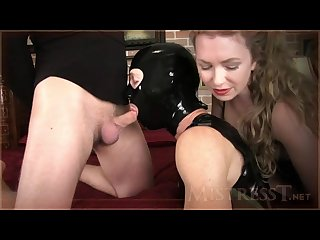 Mistress t cuck gimp suck cock and licks all