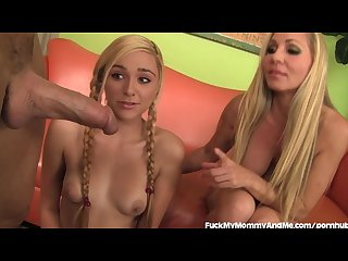 Mother daughter duo double team a hard dick