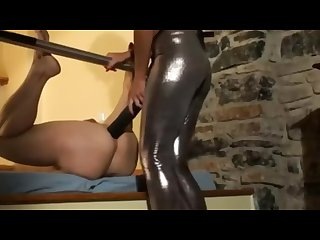 Brunette babe huge strapon guy anal hardcore femdom pegging strap on