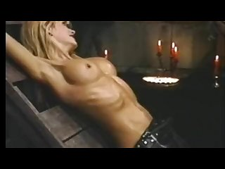 Skinny tasha welch stretching on rack and showing ribs