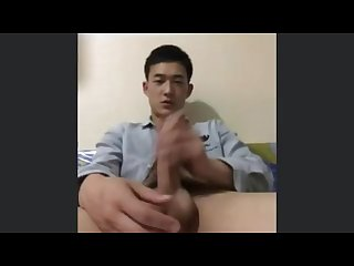Big cock Chinese jerks off before going out