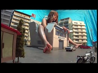 Giantess boots barefoot city crush
