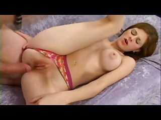 Gorgeous busty brunette impaled by a big cock