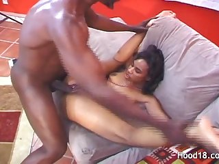 Hott ebony chick fucks massive black cock