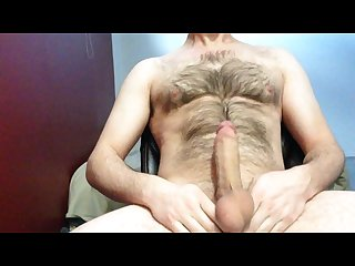 Big cock hairy body jacking then cum with no hands