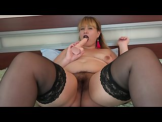 Beautiful bbw milf dildo in big juicy ass and vibrator in hairy pussy