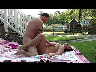 Amateur couple having passionate outdoor sex