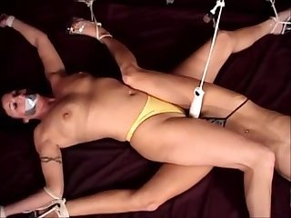Two tape gagged scissoring bondage vibed