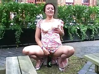 Filthy shaz flashes and squirts in public as crazy exhibitionist milf roams