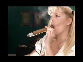 Schoolgirl with huge cigar