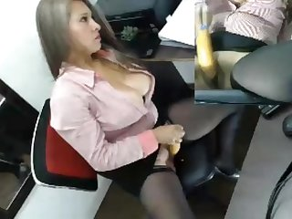 Sexy colombian masturbates at office 2