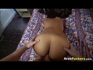 Poor arabian slut sucks two huge dicks for cash