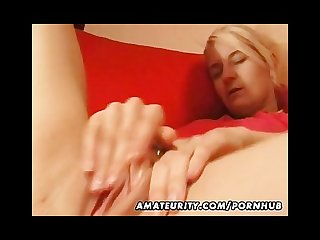 Blonde amateur girlfriend masturbates her shaved pussy and beaver
