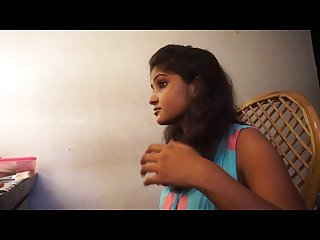Cute young indian girl navel play