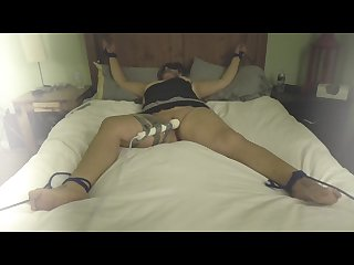 Curvy brunette tied up and made to orgasm multiple times with hitachi wand