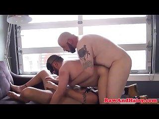 Threeway bear licks cum from barebacked ass