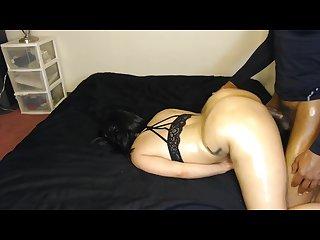 Sexy bubble butt chick take S bbc face down in black bra