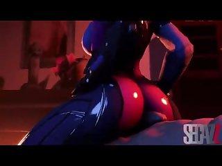 Lusty widowmaker rubs her ass on huge cock