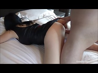 Big tits young mom in tight leather dress wants to be fucked cum in mouth