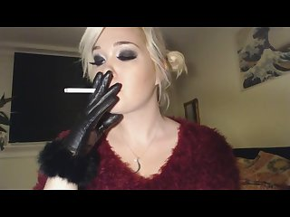 Princess doll smoking n leather gloves