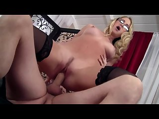 Blonde cutie cassie fucked on a couch in thigh high nylons and glasses