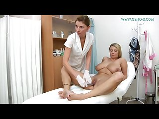 Huge breasts blonde Medical check up at gyno clinic
