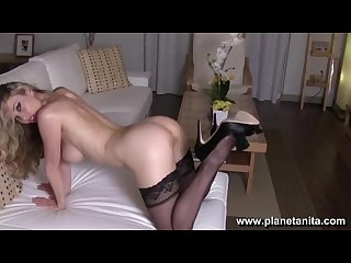 Sexy Black Stockings & Lingerie Striptease by Sexy Pornstar Anita Dark