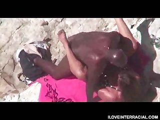 Hubby films wife cheating with Black cock at beach