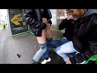 Public lesbian pee on guy