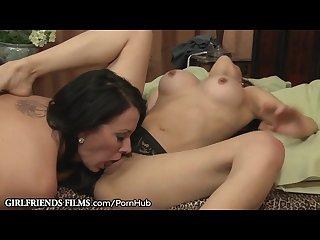 Lesbian milf makes latina pussy cum without taking panties off