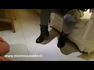 Mistress red devil eat from my boots