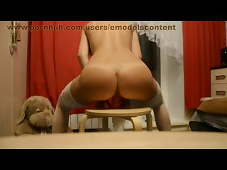 Bride in white lace stockings and thongs just married rides huge dildo slut